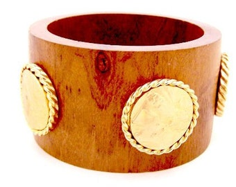 Roman Medallions onExtra Wide Wood Bangle / Bracelet