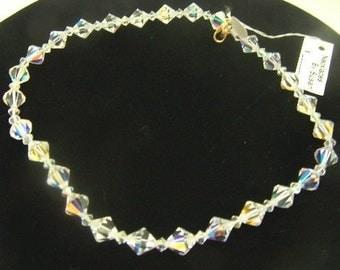 Single Strand Austrian Crystal Bicone Vintage Necklace