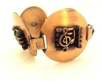Large Copper Musical Disk Bracelet - Vintage