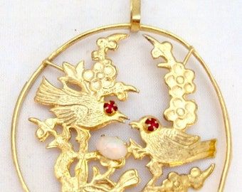 Vintage Courting Bird Pendant