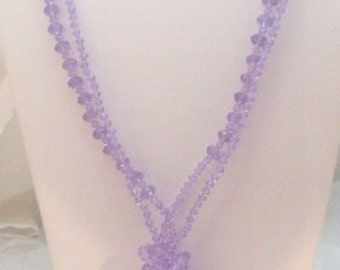 2 Lavender Faceted Graduated Crystal Bead Necklaces
