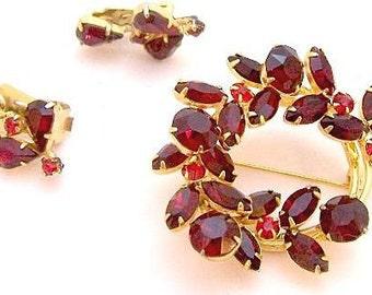 Fabulous Bright Red Rhinestone Vintage Pin Set