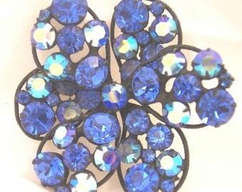 Sapphire Blue Rhinestone Vintage Pin by Regency
