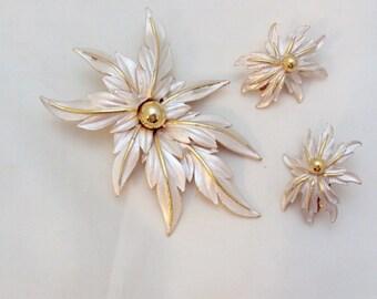Vintage Enamel Flower Pin set by Parkland