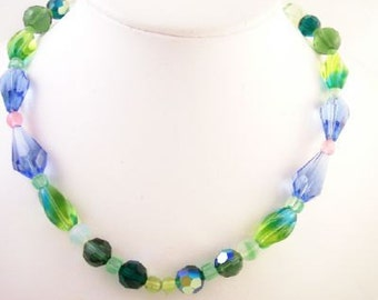 Blue Green Crystal Glass Frosted Necklace