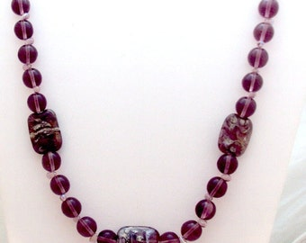 Amethyst Glass, Lampwork Bead Necklace