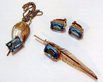 3 Piece Aquamarine RS Feather Necklace / Pendant Set