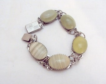 Silvertone Quartz African Jade Link Bracelet