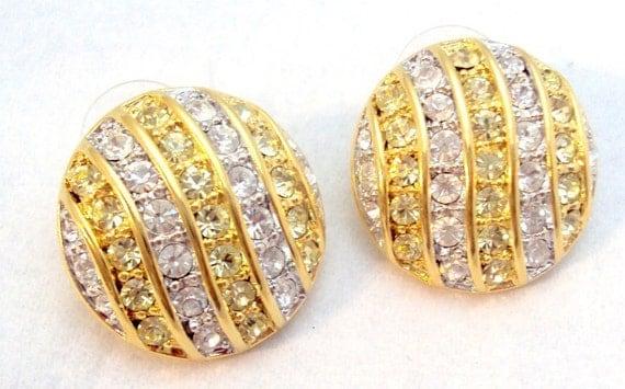 KJL Clear Citrine Rhinestone Earrings