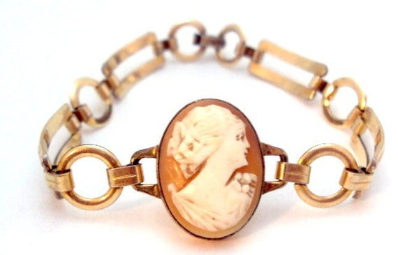 Gold Filled Vintage Cameo Bracelet by Engel Brothers EB