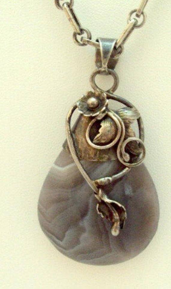 RESERVED Botswana Agate Sterling Silver Pendant Necklace