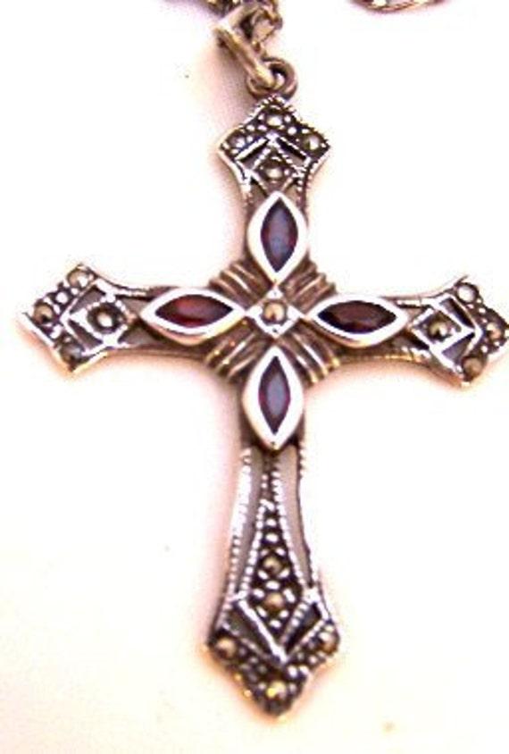 Sterling Silver Garnet Cross