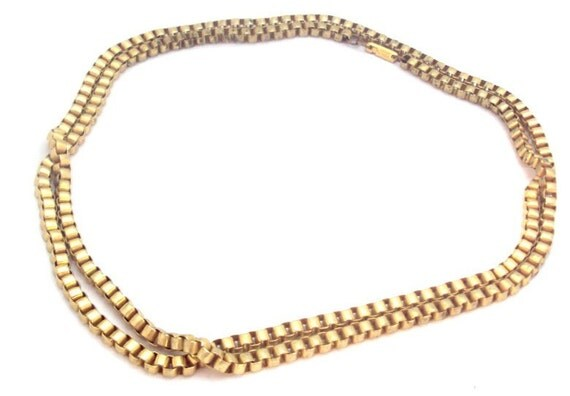 Miriam Haskell Long Box Link Necklace