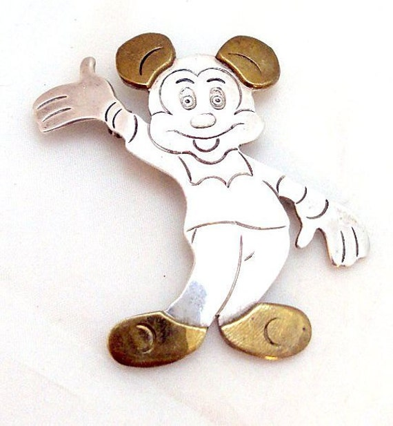 Vintage Sterling Silver Mickey Mouse Pendant Pin