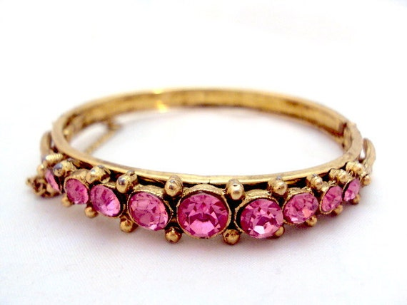 Bright Pink Rhinestone Bangle Bracelet - Vintage
