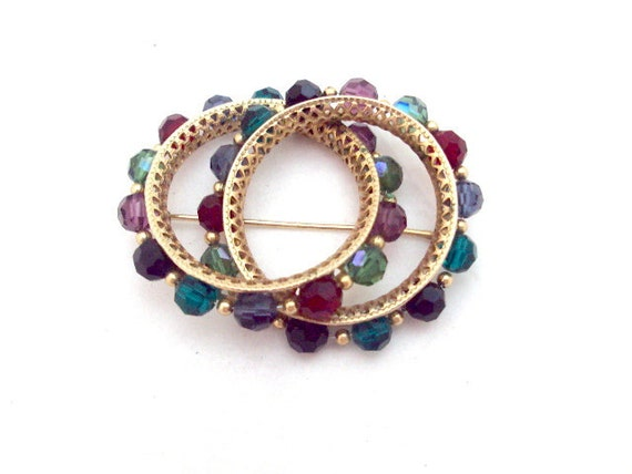 Double Colorful Crystal Vintage Pin by Napier