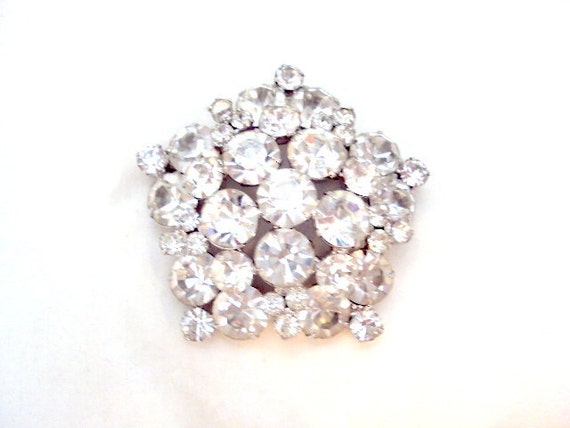 Large Sparkling Clear Rhinestone Brooch, Pin - Vintage
