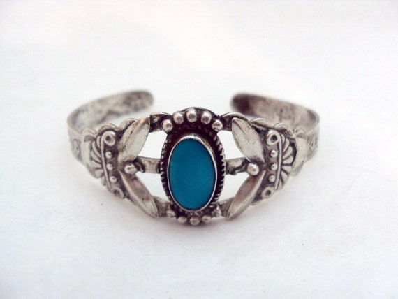 Native American Turquoise, Sterling Cuff Bracelet Signed EE with Mark