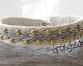 Swedish Sami LAPLAND BRACELET -14kt gold plated beads, reindeer leather, pewter threads, antler button