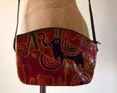 80s tiny ELEPHANTS embossed leather bag