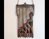 1920s deco painted mesh flapper bag