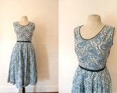 1940s blue paisley print cotton dress