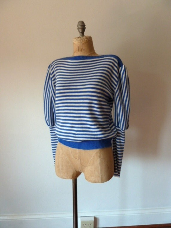 80s blue and white striped NAUTICAL sweater
