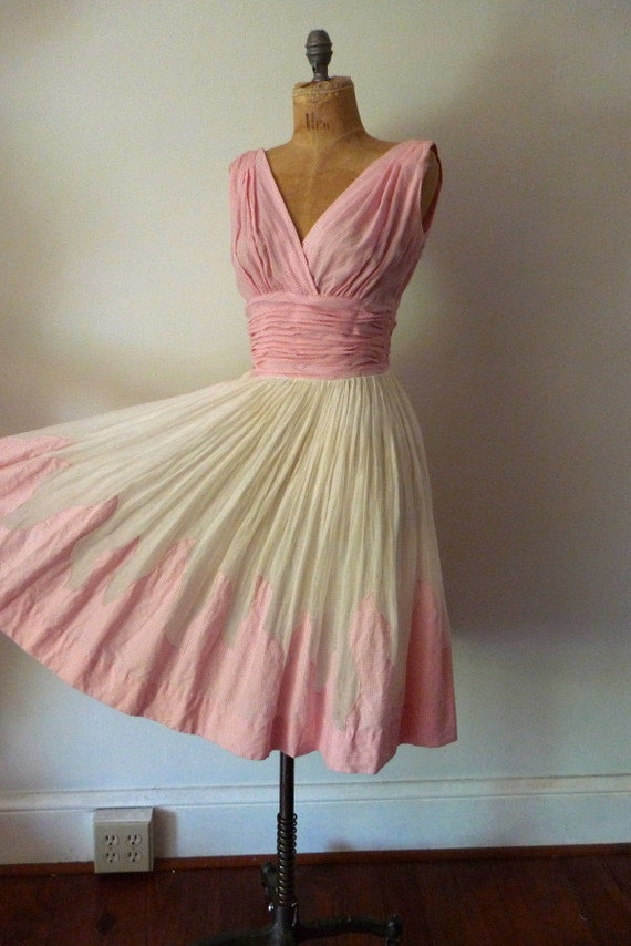 50s pink gingham FLAME dress .. s