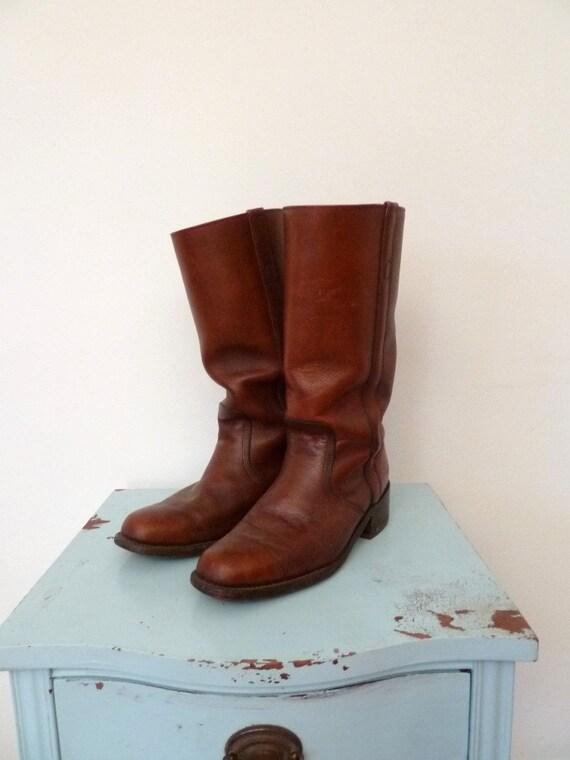SALE 70s mens FRYE cognac leather campus boots .. 10.5 or 11/ mens 9.5