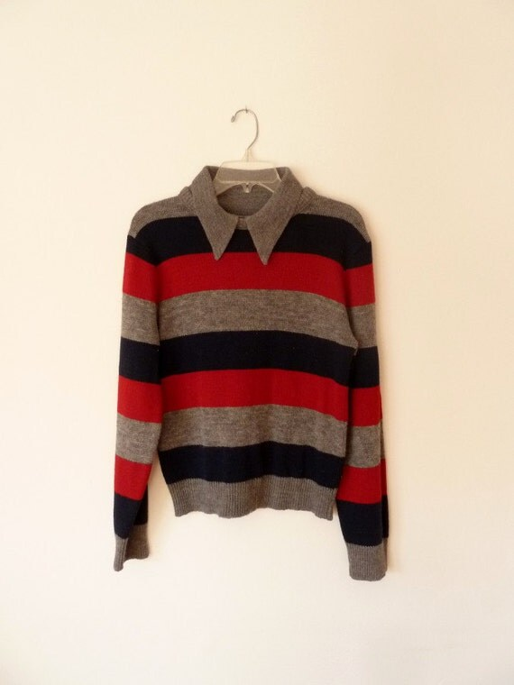 1970s charlie brown style striped knit menswear sweater