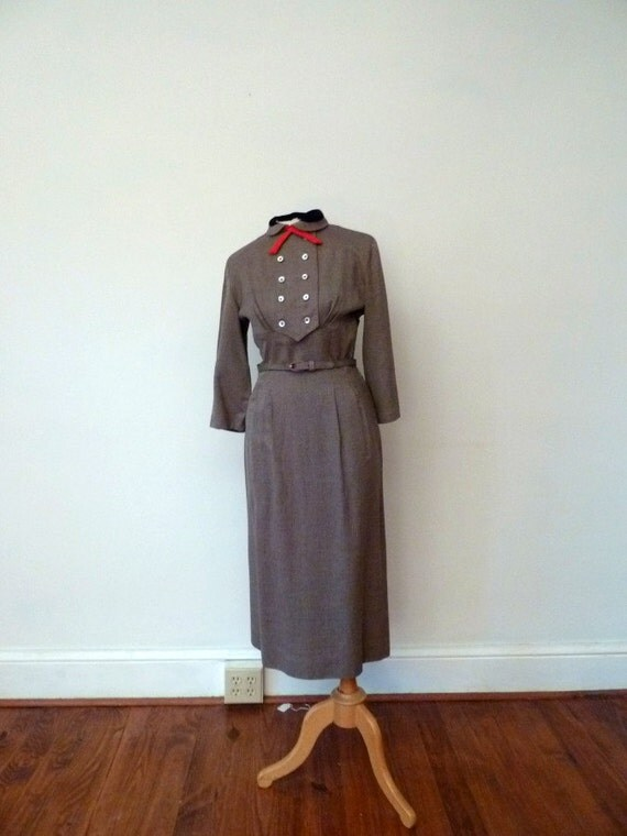 RESERVED // 1950s mushroom twill double breasted wiggle dress