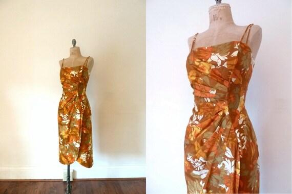 1950s tiki dress . muted orange sarong dress