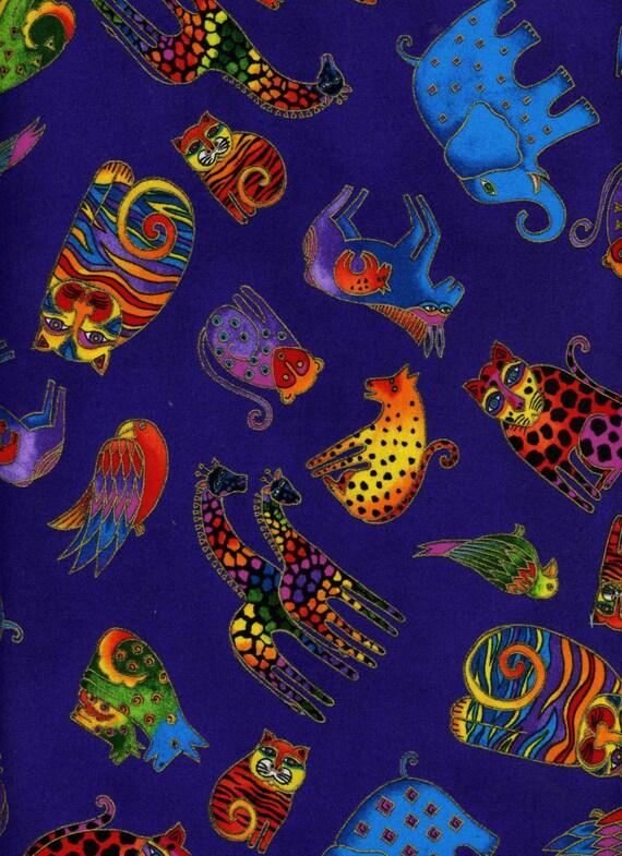 Cat Fabric Secret Jungle On Purple By Laurel Burch