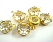 4 - 39ss Vintage Unfoiled Swarovski Crystals in 1 Ring Open Back Brass Prong Settings - Crystal .