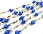 Vintage Synthetic Cat's Eyes Bead Chain - Royal Blue - 6mm - 2 Feet .