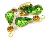 2 - 23x8mm  Vintage Glass Pear Shaped Stone and Round Rhinestone in 1 Ring Two-Stone Brass Prong Settings - Olivin and Light Topaz .