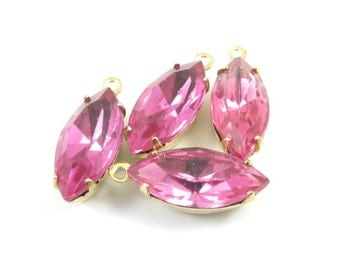 4 - Vintage Glass Faceted Navette Stones in 1 Ring Closed Back Brass Prong Settings - Rose - 15x7mm .