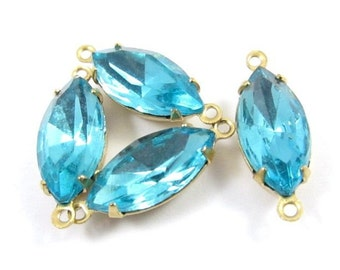 4 - Vintage Glass Navette Stones in 2 Ring Closed Back Brass Prong Settings - Aquamarine - 15x7mm .