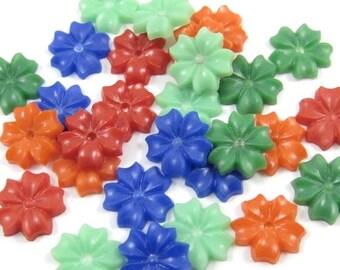100 - Tiny Vintage Plastic Flower - Assorted Colors