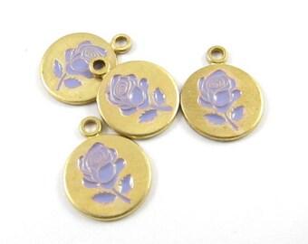 4 - Vintage Style Rose Disc Charms Pendants - Lavender