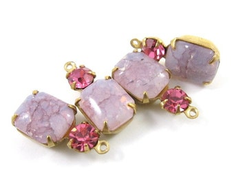 2 - Vintage Set Stones Octagon Earring Dangles Swarovski Crystal 1 Ring Brass Settings Crackle Rose Pink & Rose Pink 18x8mm
