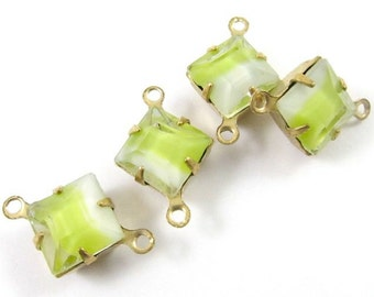 6 - Vintage Glass 8x8mm Square Givre Stones in 2 Rings Closed Back Brass Prong Settings - Yellow White