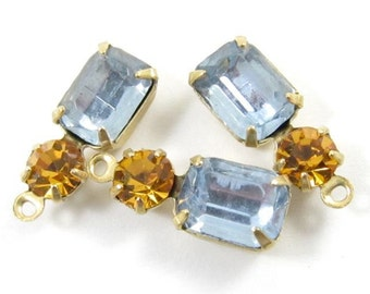 2 - Vintage Glass Octagon Stone and Swarovski Crystal in 1 Ring 2 Stones Brass Prong Settings - Light Sapphire & Light Topaz - 16x6mm