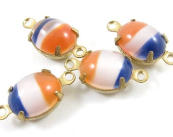4 - Vintage Glass Oval Tricolor Stones in 2 Rings Closed Back Brass Prong Settings - Red, White and Blue - 10x8mm