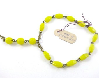Short Pre-WWII Rosary Style Beaded Chain - Yellow - 2 pcs