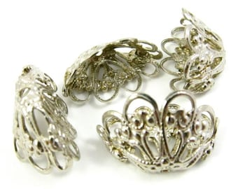 6 - Vintage Silver-Toned Filigree Bead Caps .