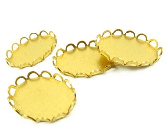 Brass Lace Edge Oval Settings - 18x13mm - 8