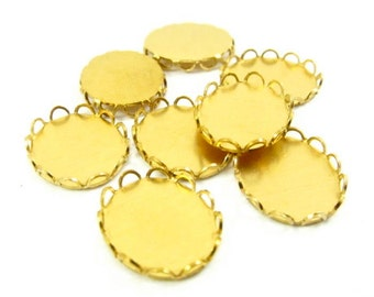 10 - Brass Lace Edge Oval Settings - 12x10mm