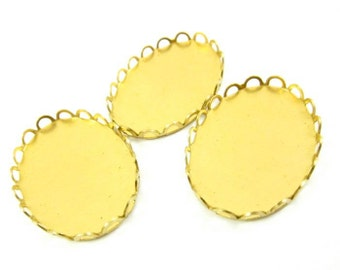 10 - Brass Lace Edge Oval Settings - 25x18mm