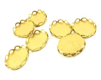 12 - Brass Lace Edge Oval Settings - 10x8mm